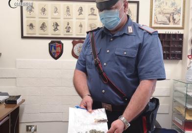Alla vista dei carabinieri lancia la marijuana dal finestrino