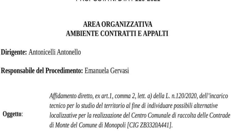Monopoli, nota di Legambiente sulla questione CCR nell'agro