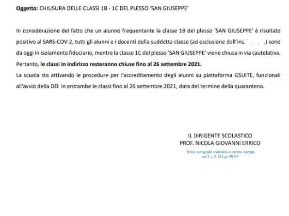 Mola, 3 classi in quarantena alla Dante e alla S. Giuseppe